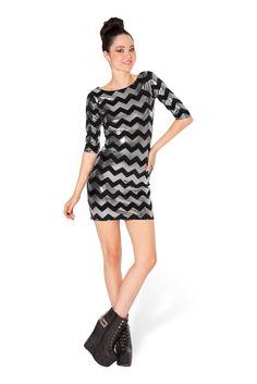 Zig Zag Silver 3/4 Dress by Black Milk Clothing