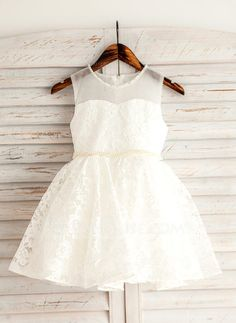 [US$ 45.69] A-Line/Princess Short/Mini Flower Girl Dress - Lace Sleeveless Scoop Neck With Beading