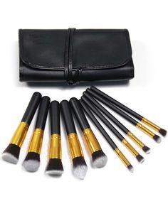 10pcs Professional Makeup Set Brushes Tools Gold Black With Bag 14.00