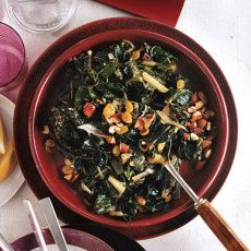 Swiss Chard with Raisins and Almonds. Could replace almonds with some other nut. Skip the raisins if you must.