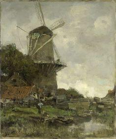 Jacob Maris | The Windmill, Jacob Maris, c. 1880 - c. 1886 | Gezicht op een standerdmolen achter enkele huizen en geboomte bij een vaart. Links op de oever staat een man voorovergebogen bij een platte schuit.
