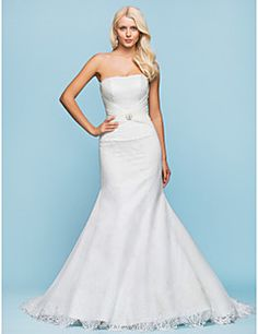 Trumpet/Mermaid Strapless Floor-length Lace Wedding Dress. Grab unbeatable discounts up to 70% Off at Light in the box using Coupons.