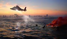 Helicopter, Coast Guard, Rescue Training, Exercise, Sea