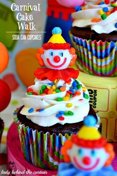 "Carnival Cake Walk Soda Can Cupcakes ~ Have you heard of ""soda can"" cupcakes? They only have TWO ingredients. The cake mix and a can of soda."
