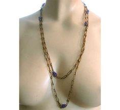 Vintage 20s Flapper Chain Necklace Purple by LilBlackDressVintage, $25.00