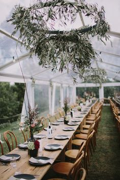 Greenery Wedding Ideas That Are Actually Gorgeous---diy wedding reception decorations with hanging greenery chandelier for rustic country barn weddings, Modern Romantic Fall Wedding Tablescapes Ideas, greenhouse wedding venues Bush Wedding, Fall Wedding, Wedding Reception, Rustic Wedding, Wedding Flowers, Wedding Venues, Barn Weddings, Country Themed Weddings, Wedding Locations