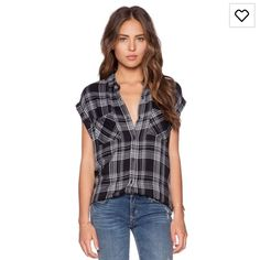 Rails britt button down shirt nior & ivory BNWOT. Size xs never worn. $65 via pp plus shipping Rails Tops Button Down Shirts