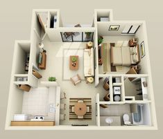 This one bedroom delight is all about making the most of your space. The kitchen is L-shaped yet efficient with a built-in pantry and easy access to the dining area. Serve off of the shared counter/breakfast bar that's open between the two spaces. One Bedroom House Plans, 3d House Plans, Modern House Plans, Layouts Casa, House Layouts, Apartment Layout, 1 Bedroom Apartment, Espace Design, Cheap Furniture Stores
