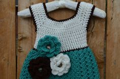 Crochet Girls Dress, Toddler Girl Dress with Flowers, Handmade Teal Dress by FuzzyStitchesCrochet on Etsy