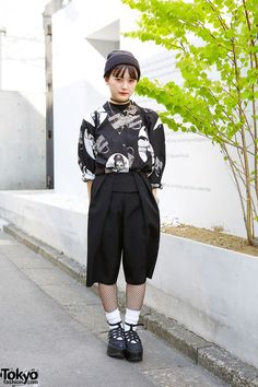 We met Miyu - a 17-year-old Japanese student - on the street in Harajuku. Her look features a resale Audrey Hepburn shirt with shorts from Sly, fishnet stockings, and #Tokyo #Bopper platform shoes. #tokyofashion #street snap #Harajuku