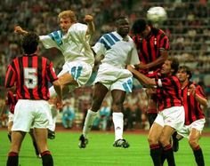 Marseille 1 AC Milan 0 in May 1993 in Munich. Basile Boli heads the winner for the French in the European Cup Final. Paolo Maldini, European Cup, Ac Milan, Club, Champions League, Munich, Finals, Basketball Court, France