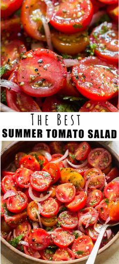 This fresh tomato salad is simply the best and easiest summer salad you'll ever make! This salad is ideal to be served with anything from the grill! #recipes #summer #saladrecipes #tomatosalad #easy #quickmarinated #marinated #bestsalad #chilledsalad #grilling #sidedish #fresh #tomatoes Cherry Tomato Salad, Tomato Salad Recipes, Best Salad Recipes, Grill Recipes, Cooking Recipes, Healthy Recipes, Water Recipes, Easy Tomato Recipes, Garden Tomato Recipes