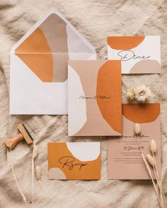 Orange, sandy blush, and white modern, sophisticated wedding invitation design invitation layout SHOOT EDITORIAL 2019 - Ruban Collectif Graphic Design Branding, Stationery Design, Packaging Design, Packaging Ideas, Graphic Design Invitation, Modern Logo Design, Corporate Design, Wedding Invitation Design, Wedding Stationary