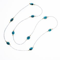 Aquamarine & natural Turquoise Endless Loop Necklace from Wanderlust Jewels LLC for $400.00
