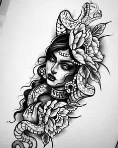 This image may contain: 1 black … – Tattoos Cute Tattoos, Leg Tattoos, Black Tattoos, Body Art Tattoos, Girl Tattoos, Sleeve Tattoos, Chicanas Tattoo, Snake Tattoo, Tattoo Drawings