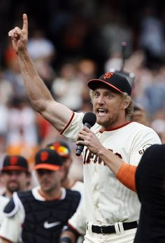 SAN FRANCISCO, CA - SEPTEMBER Hunter Pence of the San Francisco Giants thanks the fans for a successful season after defeating the San Diego Padres at AT&T Park on September 2014 in San Francisco, California. (Photo by Brian Bahr/Getty Images) Giants Players, Giants Team, My Giants, Giants Baseball, San Francisco Baseball, San Francisco Giants, Backyard Baseball, Hunter Pence, Baseball Sunglasses