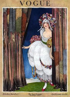 Vintage magazine cover print of the cover of the April 1919 issue of Vogue Magazine, by the great George Wolfe Plank. Vogue Vintage, Vintage Vogue Covers, Vintage Fashion, Trendy Fashion, Steampunk Fashion, Gothic Fashion, Gothic Steampunk, Steampunk Clothing, High Fashion