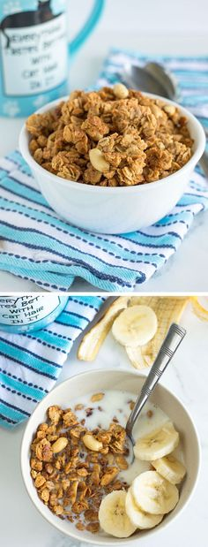 A Crunchy Peanut Butter Granola recipe made with honey, oats and lots of creamy natural peanut butter for a gluten free, protein-packed and healthier breakfast cereal or snack idea. Best served with lots of sliced bananas. Healthy Cereal, Healthy Snacks, Healthy Recipes, Healthy Breakfast Cereal, Paleo Cereal, Quinoa Cereal, Trix Cereal, Baby Cereal, Cereal Recipes