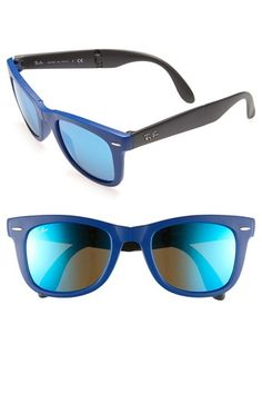 Ray-Ban Folding Wayfarer 50mm Sunglasses | Blue Mirrored