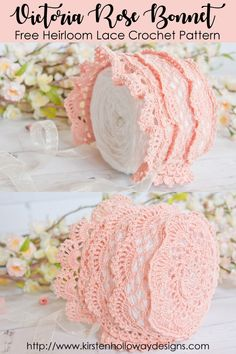 Make a beautiful #baby #bonnet with this #freecrochetpattern Heirloom quality lace design for girls. #ravelry #babybonnet #crochetpattern #crochetlace #crochethat
