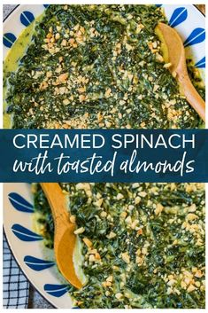 This easy creamed spinach recipe is made with a handful of ingredients and comes together quickly. It's a great addition to any Thanksgiving or holiday table. This spinach side dish is topped with toasted almonds for a crunchy topping. Easy Vegetable Side Dishes, Vegetable Sides, Side Dishes Easy, Side Dish Recipes, Vegetable Recipes, Spinach Recipes, Healthy Recipes, Thanksgiving Side Dishes, Thanksgiving Ideas