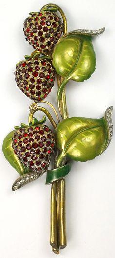 DeRosa Metallic Enamel Leaves and Rubies Giant Strawberries Pin