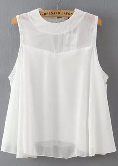 White Round Neck Sleeveless Loose Chiffon Blouse 13.67 Blouse Styles, Blouse Designs, Short Sleeve Collared Shirts, Fancy Tops, Thrift Fashion, Hippie Outfits, Dress Sewing Patterns, Western Outfits, Elegant Outfit