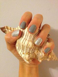 Silver and Grey Nail Design for Long Nails