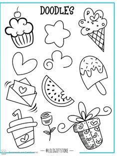 Simple Doodles, Cute Doodles, Easy Doodle Art, Doodle Lettering, Lettering Tutorial, Art Graphique, Chalkboard Art, Cute Images, Drawing For Kids