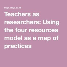 Teachers as researchers: Using the four resources model as a map of practices Research, Teacher, Map, Education, Model, Ideas, Professor, Mathematical Model