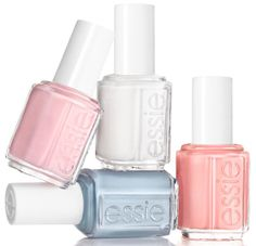 Essie Bridal Summer 2014 Collection - •She Said Yes – sheer white with subtle silver shimmer   •Meet The Parents – chambray blue  •Got Engaged! – warm nude pink with tiny silver sparkle  •Love Every Minute – strawberry coral