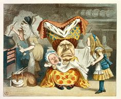 'Alice, the Duchess, and the Baby' Illustration for the sixth chapter of Lewis Carroll's Alice in Wonderland by Sir John Tenniel, 1865 coloured and enlarged in the Nursery Alice edition of 1890