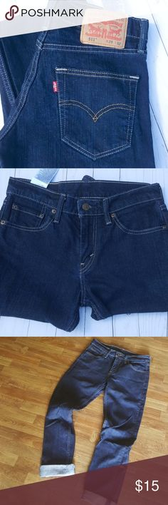 Levi's 511 Straight Leg Jeans Size 29x32  Dark blue Fits true to size Non stretch  Vintage look Levi's Jeans Straight Leg