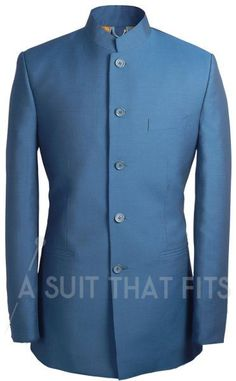 Nehru collared navy Première 2 Piece Suit with paraquette lining. Mens Fashion Suits, Mens Suits, Prince Suit, Men's Two Piece Suits, Indian Bridal Fashion, Cool Outfits, Fashion Outfits, Men Formal, Sharp Dressed Man