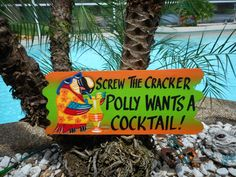 Screw the Cracker wood sign is one of the most popular tiki signs. Hand painted in Bright vibrant colors this sign is an awesome accent for any Tiki Bar