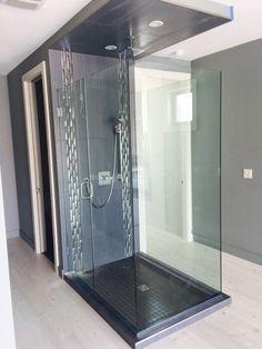 Frameless Glass Shower Enclosure Contemporary Showers New York Atm Mirror And