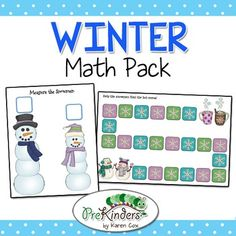 This is a set of fun hands-on Math activities for Winter. These can be used in Small Group and/or Centers. Just print, laminate, and cut.    Math Games Included: *Mitten Sorting (various attributes) *Winter Hat Sizes (size sorting & size order) *Snowman Measurement *Path Games (2 versions, long & short) *Dry Erase Number Tracing, Writing and Counting Cards *Dry Erase Shape Tracing & Writing Cards  You might also be interested in:  Winter Literacy Activities Pack Penguin ...