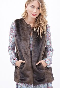 Collarless Faux Fur from Forever 21 $42,80
