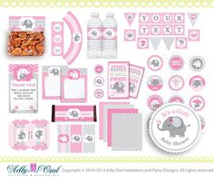 Items similar to Pink Elephant Baby Girl Shower Printable Party Kit with girl baby elephant, chevron, polka, pink, grey on Etsy Fiesta Baby Shower, Baby Shower Niño, Baby Girl Shower Themes, Baby Shower Princess, Baby Shower Invites For Girl, Baby Shower Parties, Shower Party, Invitacion Baby Shower Originales, Invitaciones Baby Shower Niña