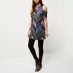 Black Aztec print cold shoulder dress - bardot / bandeau dresses - dresses - women