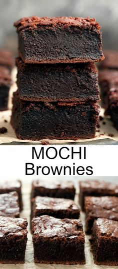 These are a perfect blend of fudgy brownies and chewy butter mochi cake. They are also gluten-free. Asian Desserts, Just Desserts, Delicious Desserts, Dessert Recipes, Yummy Food, Japanese Desserts, Japanese Food, Tasty, Mochi Brownie Recipe