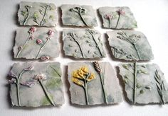 Make shallow relief tiles reflecting local flora and fauna using castle acre glaze applicatio instead of realistically painting. (Use Henry Chapman Mercer as influence.)