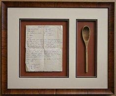 "How's this for a treasured keepsake – a favorite family recipe custom framed together with a special item from your family kitchen. This piece features a recipe for ""Grandma's Donuts"" along with a wooden spoon. We bet there are many memories housed within the four sides of this frame! What recipe do you love so much you would custom frame it?"