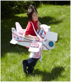 AWESOME. Color your own cardboard airplane costume by Wearables. #flyingaceparty