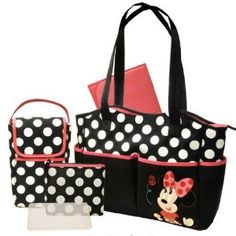 Disney - Minnie 5-in-1 Diaper Bag Set  It is cute , my baby loves it , her mommy loves it and it sells for a decent price.  From $37.60 on Amazon
