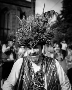 The Museum of British Folklore's Century Folk Culture initiative: The Saddleworth Rushcart festival, by the photographer, Bob France. Pictured is Ed Worrall of the Saddleworth Morris. Ritual Dance, Morris Dancing, Celtic Festival, New Museum, Winter's Tale, Carnivals, Green Man, Gods And Goddesses, British Isles