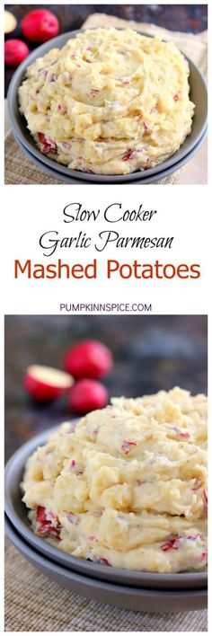 These Slow Cooker Garlic Parmesan Mashed Potatoes are creamy flavorful and contain just a few simple ingredients. The fresh garlic and Parmesan cheese gives this dish a zesty hint of flavor. Once you try these mashed potatoes in a slow cooker you'll ne Parmesan Mashed Potatoes, Garlic Parmesan, Slow Cooker Recipes, Crockpot Recipes, Cooking Recipes, Crockpot Potluck, Rice Recipes, Yummy Recipes, Thanksgiving Recipes