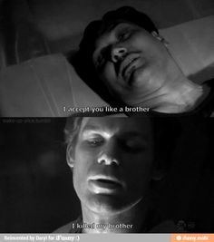 That awkward moment when Dex admits he killed his brother and you freak out, the only problem is you're tied up and wrapped with saran wrap to a table. Looks like you're stuck!
