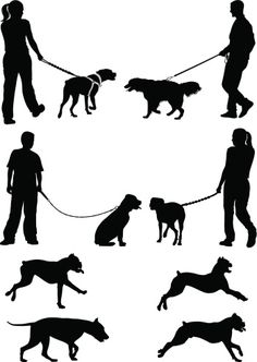 Vectores libres de derechos: Dogs Silhouette Painting, Silhouette Clip Art, Animal Silhouette, Painting People, Figure Painting, Figure Drawing, Concept Models Architecture, Architecture People, Dog Tattoos