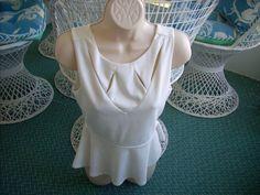 Women's LILY WHITE Peplum Sleeveless White Top Lined Size Small #LilyWhite #Peplum #Career